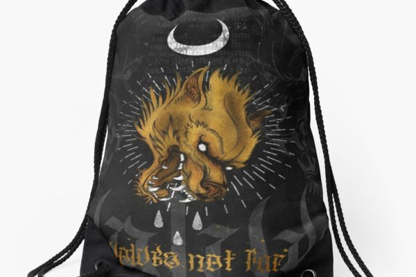 Jase34 - Wolves Not Far - Drawstring Bag